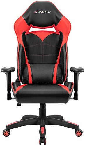 Homall Gaming Chair Racing Style High Back Office Chair Seat Height Adjustable Computer Chair PU Leather Desk Chair Ergonomic Tilt E-Sports Chair Red