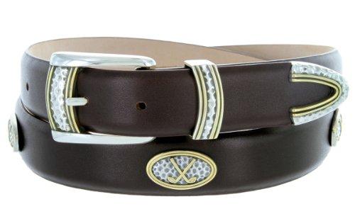 - Golf Classic - Men's Italian Calfskin Designer Dress Belt with Golf Conchos (44 Smooth Brown)