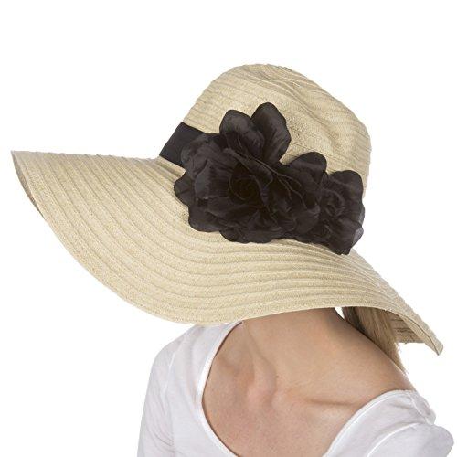 Sakkas Daisy UPF 50+ 100% Paper Straw Flower Accent Wide Brim Floppy Hat