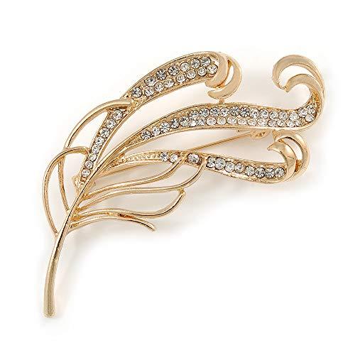 Avalaya Fancy Clear Crystal Leaf Brooch in Gold Tone - 70mm L - Gold Plated Leaf Brooch