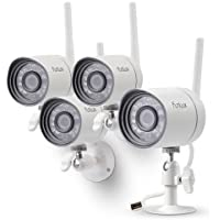Funlux 720p Smart Security Camera System, 4x HD Wireless IP Cameras with Night Vision, Smartphone Viewing, White