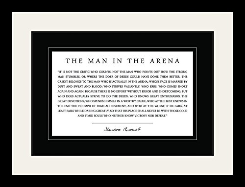 Theodore Teddy Roosevelt the Man in the Arena Quote 19x25 Double Matted to 13x19 Framed Picture by WeSellPhotos
