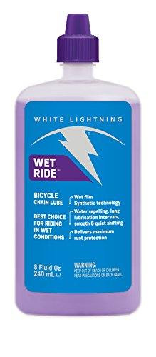 White Lightning Wet Ride Extreme Conditions Heavy Bicycle Chain Lube, 8-Ounce Drip Squeeze Bottle ()