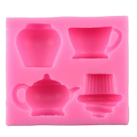 nikgic 1 pcs taza pastel silicona molde de cumpleaños de boda fondant pastel decoración herramientas Gumpaste Chocolate caramelos moldes 7.5 * 6.6 * 1.8 cm: ...