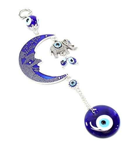 Evil Wall (Turkish Blue Evil Eye (Nazar) Moon & Elephant Amulet Wall Hanging Home Decor Protection Blessing Housewarming Birthday Gift US Seller)