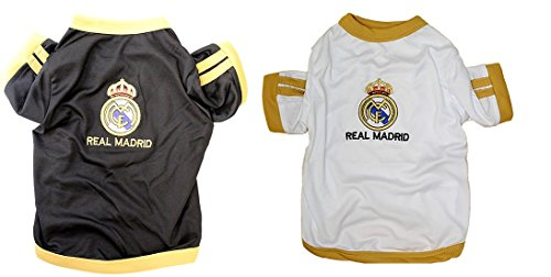fan products of New Pet Apparel Real Madrid FC Dog & Cat Jersey Soccer Football T Shirt Vest Sweater (XL, White)