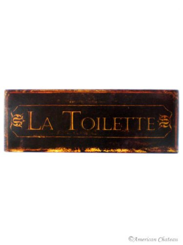 "Iron Metal Tin Signs Bath Sign Bathroom ""La Toilette"" Wall Door Plaque"
