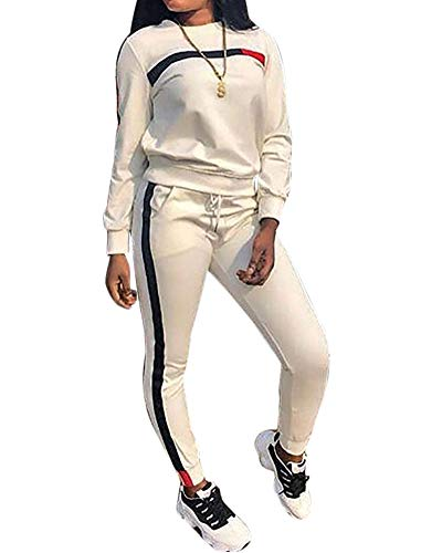 TOP-MAX Women's Sweatsuits, Women's 2 PCS Tracksuit Round Neck Long Sleeve Top Stripe Long Pants Jumpsuit Outfits Set for Sport (Sweats Girls Teenage For)