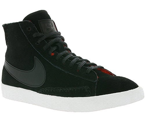 NIKE Blazer Mid PRM Womens Basketball-Shoes 403729-007_9 - Black/Black-Action Red-Summit White