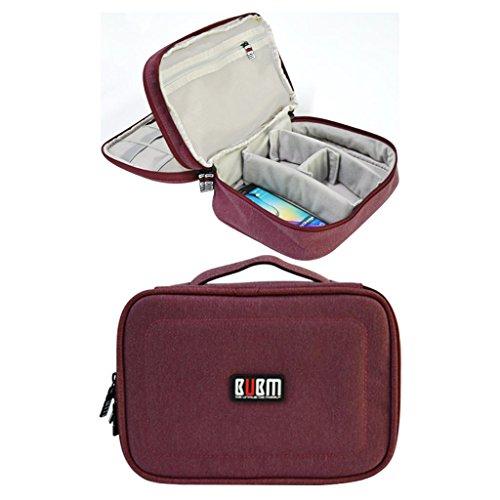 Maletín BUBM organizador de gadgets y accesorios electrónicos, impermeable, doble capa, ideal para viajes rosa/rojo