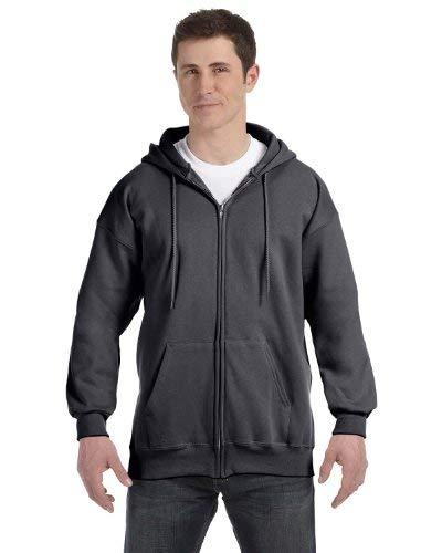 F280 Hoodie Sweatshirt - Hanes Full-Zip Hooded Sweatshirt, XL, Charcoal Heather