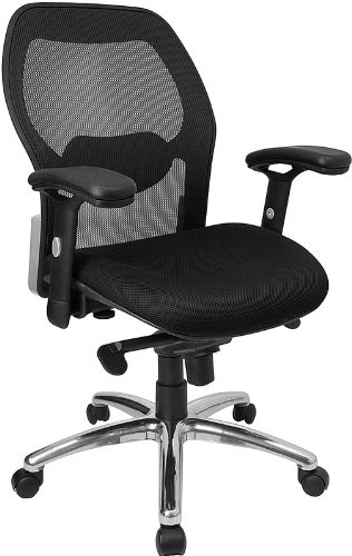 Flash Furniture Mid-Back Black Super Mesh Executive Swivel Chair with Knee Tilt Control and Adjustable Arms - Knee Tilt Executive Chair