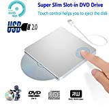[Updated Version] Xglysmyc USB External CD DVD Drive Burner Portable Ultra-Thin Slot-in CD/DVD+/-RW Player Writer Rewriter SuperDrive Support MacBook Pro/Air iMac Laptop Desktop Win XP/7/8/10-Silver
