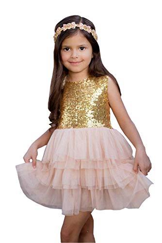 Magicdress Gold Flower Girl Dresses Short Pageant Party Dress for Little Girls]()