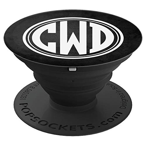 (CWD Monogram Pop Socket Initials CWD or CDW on Black - PopSockets Grip and Stand for Phones and)