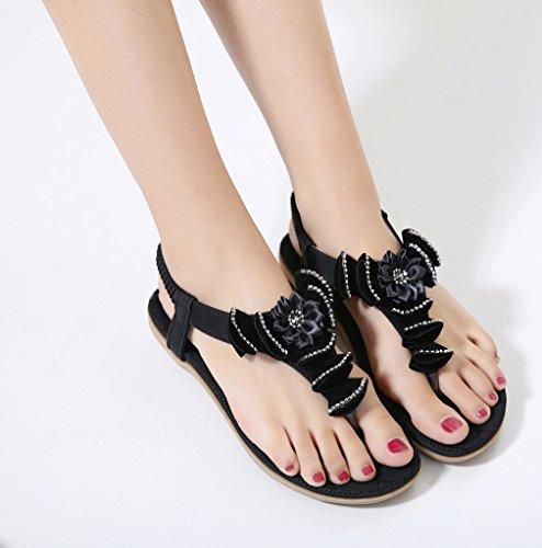 YoungSoul Sandalias planas con detalle de flor chanclas de verano con tira para el dedo comodas sandalias de vestir para mujer Negro