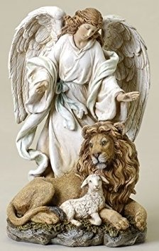 (Angel Collection Joseph's Studio by Roman Exclusive Standing Angel with Lion and Lamb Figurine, 9.5-Inch)