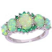 suchadaluckyshop Fashion Women Green Fire Opal & Emerald Gems Silver Ring Jewelry Size 7/8/9 Gift (9)