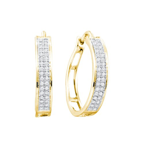 10k Yellow Gold Round Diamond Pave Set Hoop Huggie Earrings - 17mm Height * 4mm Width (1/5 cttw)