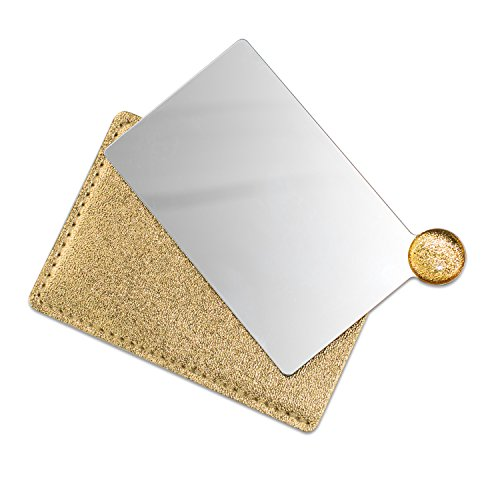 (IBEET Unbreakable Stainless Steel Makeup Mirrors,Vanity Mirror small for Purse Handbag Travel, Cosmetic Rectangular Handheld Compact Pocket Mirror Tiny Wallet Mirror Plate for Makeup)