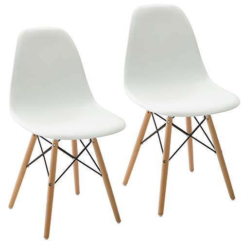 Phoenix Home Kenitra Contemporary Side Chair with Maple-Wood Legs, Snow White, Set of 2