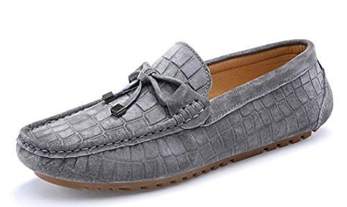 Tda Mens Komfort Klassiska Knut Läder Driv Loafers Båt Skor Grå