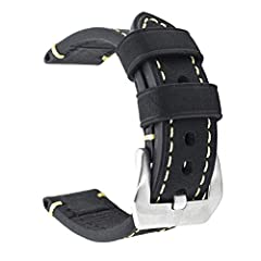 Panerai style thick (4mm) watch band with high quality vintage genuine leather and brushed stainless steel buckle (Large buckle).Both the front side and the back side is made of calf leather.       Band Width: 20mm       Wrist Fit: 6.7...