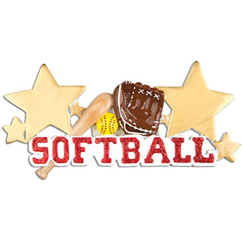 Personalized Softball Christmas Tree Ornament 2019 - Red Glitter Word Gold Star Mitt Mush-Ball Bat Sports Athlete Kitten Ladies Coach Hobby School Active Profession Gift Year - Free Customization