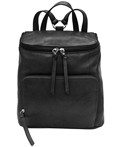ili Leather 6502 Backpack Handbag with RFID Lining (Black) by ILI