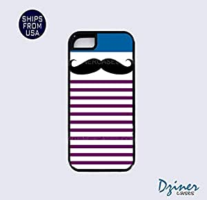 iPhone 5 5s Tough Case - Blue Purple stripes Mustache iPhone Cover