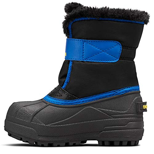 Sorel - Youth Snow Commander Snow Boots for Kids, Black/Super Blue, 10 M US (Snowboard Size 10 Boots)
