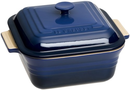 Baker Stoneware Square Covered (Le Creuset Stoneware 3-Quart 9-Inch Covered Square Casserole, Cobalt)
