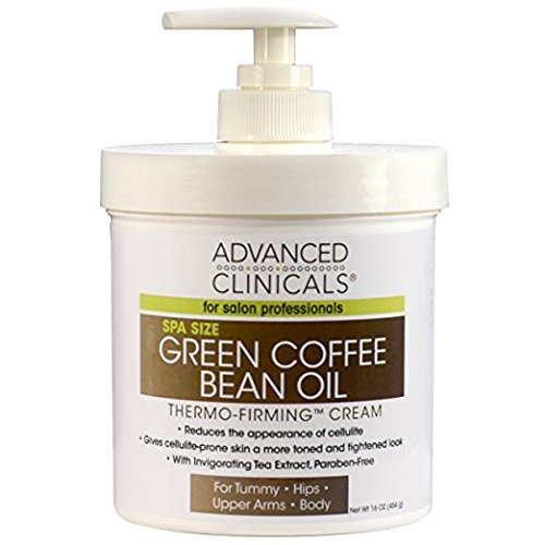 Advanced Clinicals Green Coffee Bean Oil Thermo-firming Body Cream 16oz Spa Size (Pack of 2)