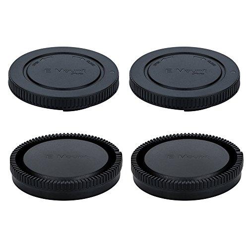 (2-Pack) Body Cap and Rear Lens Cap Kit for Sony Alpha Series & NEX Series E-Mount Mirrorless Camera and Lens such as Sony Alpha A9/A7/A7 II/A7S/A7S II/A7R/A7R II/A6500/A6300/A6000/A5100/NEX-7/NEX-6