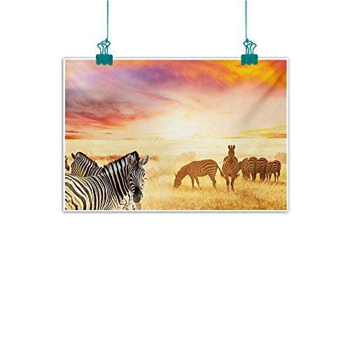 Simulation Oil Painting Safari African Zebras at Fairy Sunset on The Grassland Wildlife Adventure Theme in Nature Modern Minimalist Atmosphere W24 xL20 Multicolor