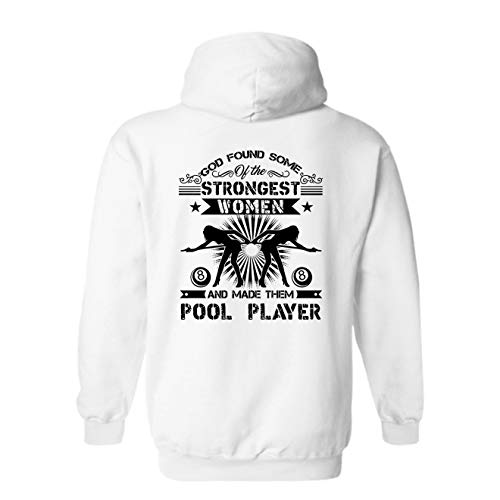 Elido Store God Made Female Pool Players Long Sleeve Hoodie, Pullover Hoodies White,M
