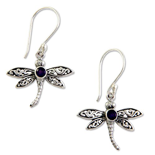 NOVICA .925 Sterling Silver Amethyst Dangle Hook Earrings, 'Enchanted Dragonfly'