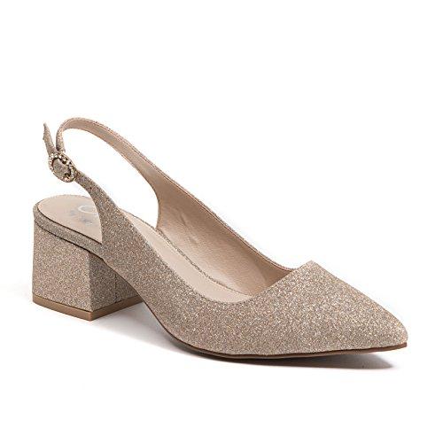 Dame Couture Mi-bloc Talon Habillé Paillettes Fronde Chaussures Femmes Par, Nina Or