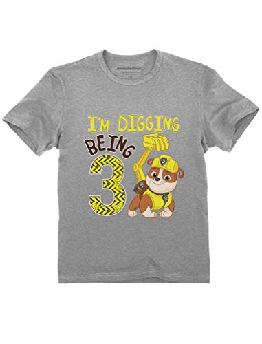 Tstars - Paw Patrol Rubble Digging 3rd Birthday Official Toddler Kids T-Shirt 3T Gray (3 Yr Old Boy Birthday Party Themes)