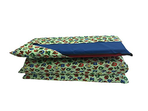 KinderMat Cover, Pillowcase Style Full Sheet for Rest Mats Roughly 24 x 48 Inches, Large, Animal Alphabet, Green