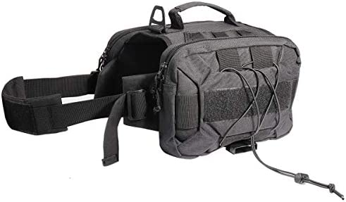 Lifeunion Tactical Dog Pack Hound Travel Camping Hiking Backpack Saddle Bag Rucksack with 2 Capacious Side Pockets for Medium Large Dog