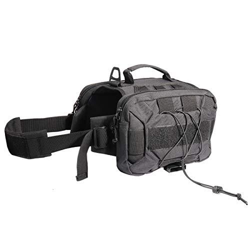 Lessbad Lifeunion Tactical Dog Pack Hound Travel Camping Hiking Backpack Saddle Bag Rucksack with 2 Capacious Side Pockets for Medium & Large Dog (Black)