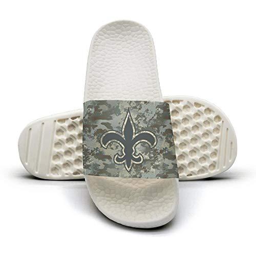 Mens Camouflage Camo Printed Non-slip Slipper Slides Flip Flop Sandals Summer Indoors For Football Fans (New Slipper Orleans Saints Mens)
