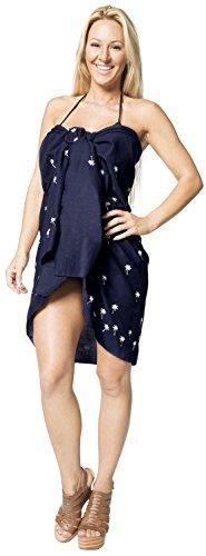 bordado palmera pareo bikini de encubrir los vestidos de la falda de las mujeres 3 veces más canga Azul