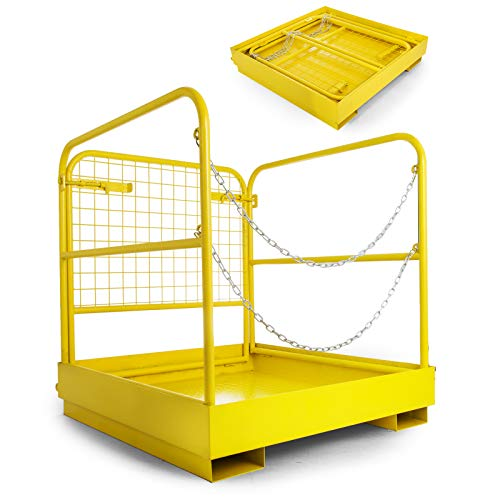 BestEquip Forklift Safety Cage Aerial Rails 36x36 Inch Forklift Safety Cage Work Platform Heavy Duty Steel Construction Fold Down Lift...
