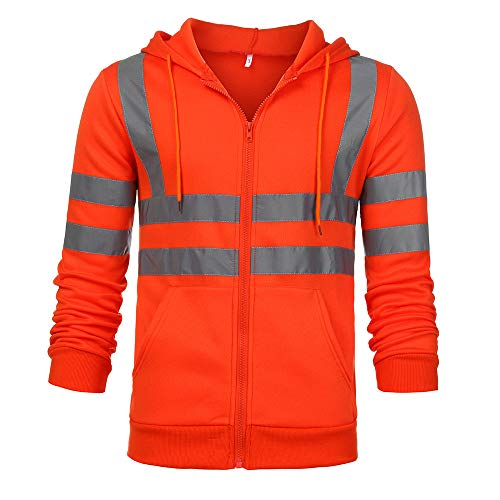Sunhusing Men's Solid Color Reflective Hooded Long Sleeve Sweatshirt Road Work High Visibility Pullover Top