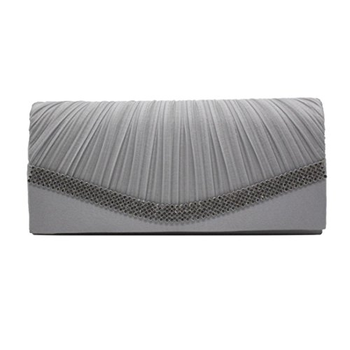 Clutch With Evening Wedding Bag Rhinestones Silver Bridal Pleated erthome Purse Satin 6BXnF