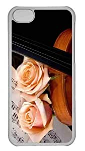 Customized iphone 5C PC Transparent Case - Violin And Peach Roses Personalized Cover