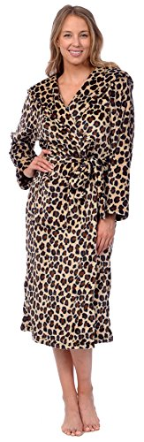Patricia Women's Premium Soft Plush Robe Full Length with Hood (Leopard Print, ()