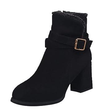 Logobeing Botines Mujer Tacon Invierno Planos Tacon Ancho Piel Botas de Mujer Medio Zapatos Combat Casual Planas Zapatos de Plataforma-5770(35,Negro): ...